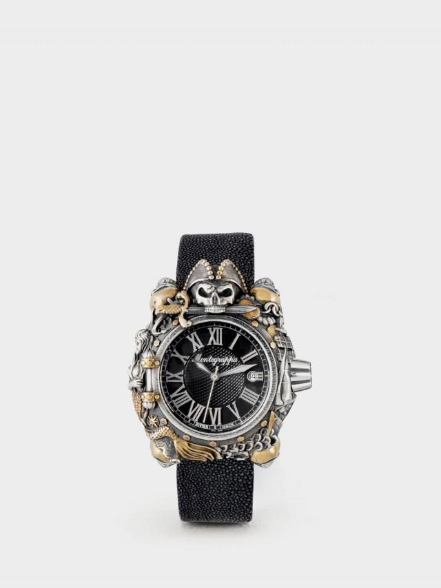 Montegrappa 限量系列 - 海盜自動機械錶款 - 純銀包金款