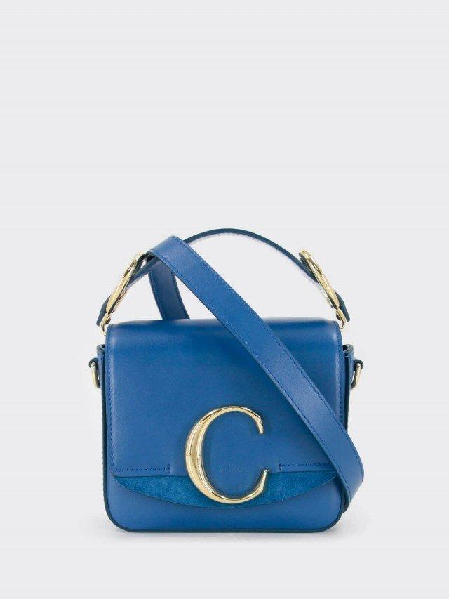 Chloé mini C bag 金屬 LOGO 撞色滑面皮革手提 / 肩背方包 x 天空藍