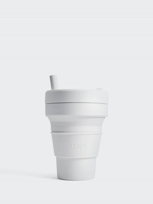 stojo 摺疊吸攜杯 布魯克林限定版 - 石英白